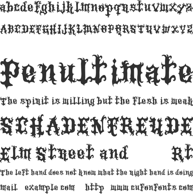 Vtks Tattoo font preview