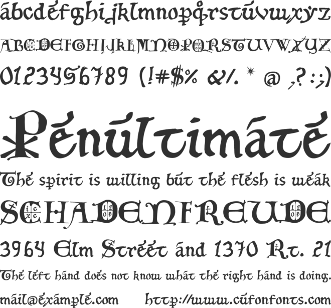 12th c. Fancy Caps font preview