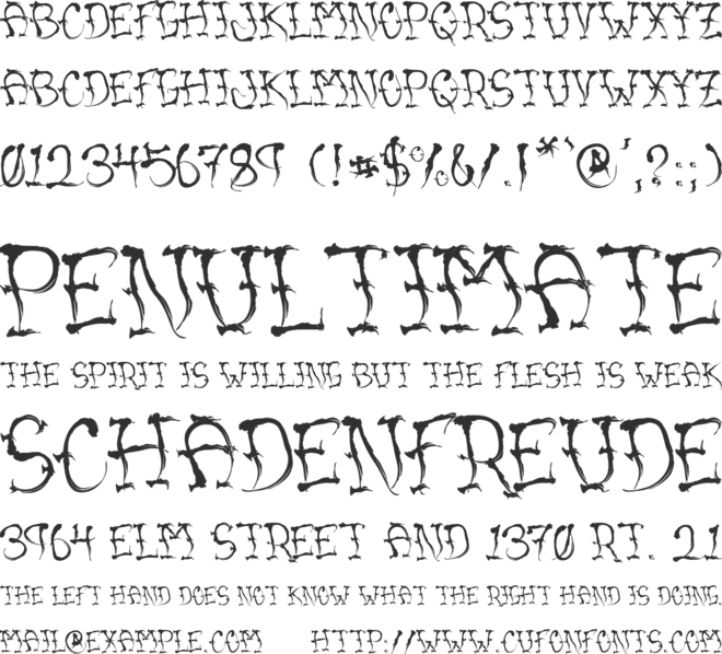 VTC Sumi Slasher One font preview