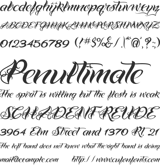 VTC Bad Tattoo Hand One font preview
