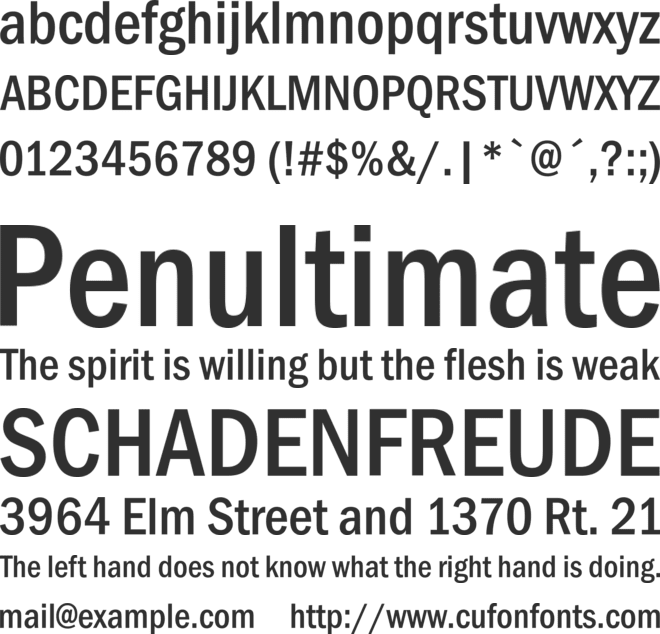 Franklin Gothic Medium Cond font preview