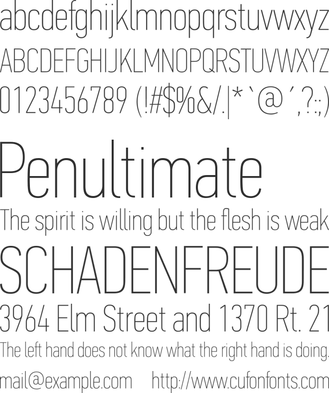 PF Din Text Comp Pro X Thin font preview