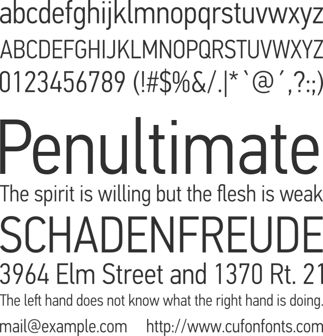 PF Din Text Cond Pro Light font preview