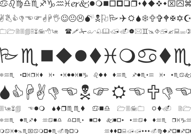 Wingdings font preview