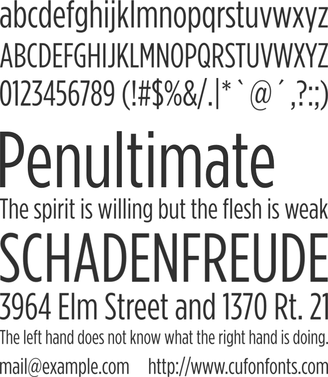 Gotham Condensed font preview