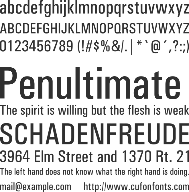 Univers Condensed font preview