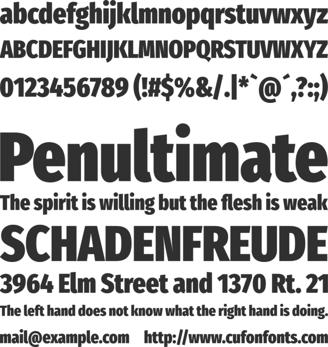 Fira Sans Compressed Heavy font preview
