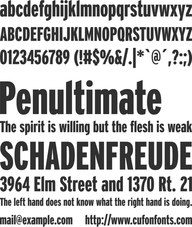 Interstate font preview