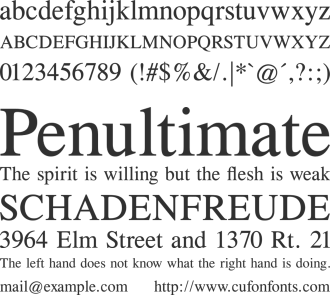 Times CG font preview