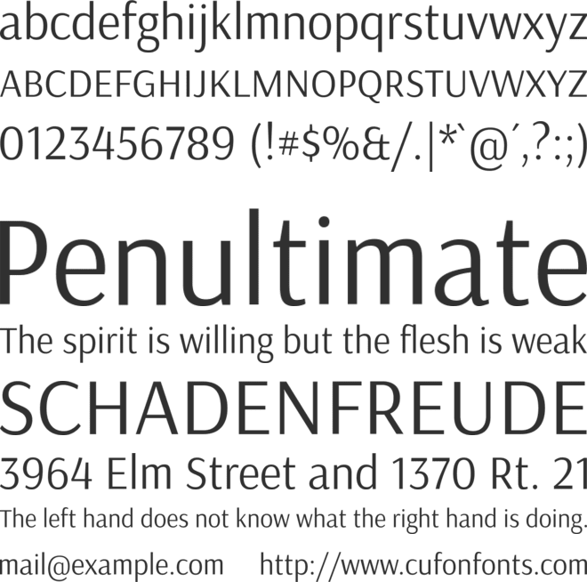 Arsenal font preview