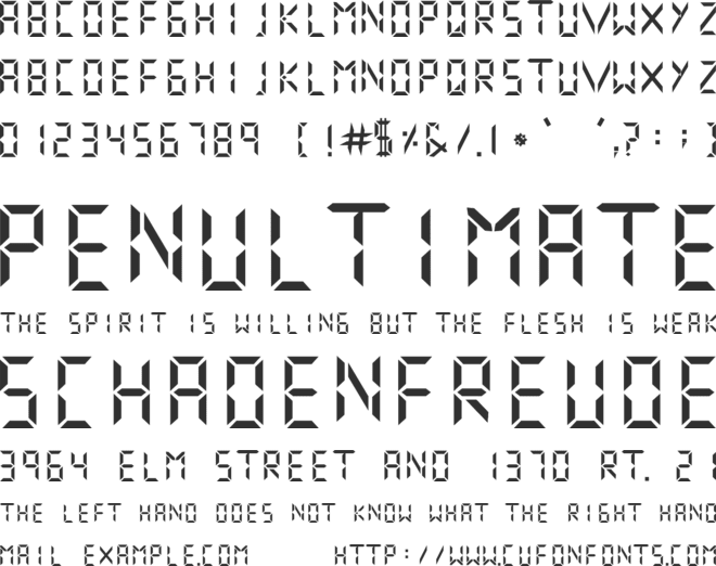 Digital Numbers font preview