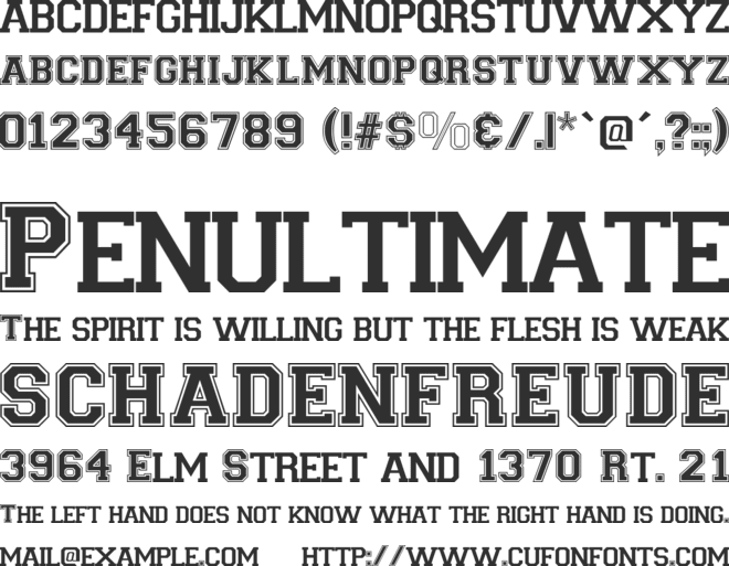 Varsity font preview