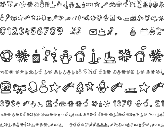 Lettertype Mies Christmas Icons font preview