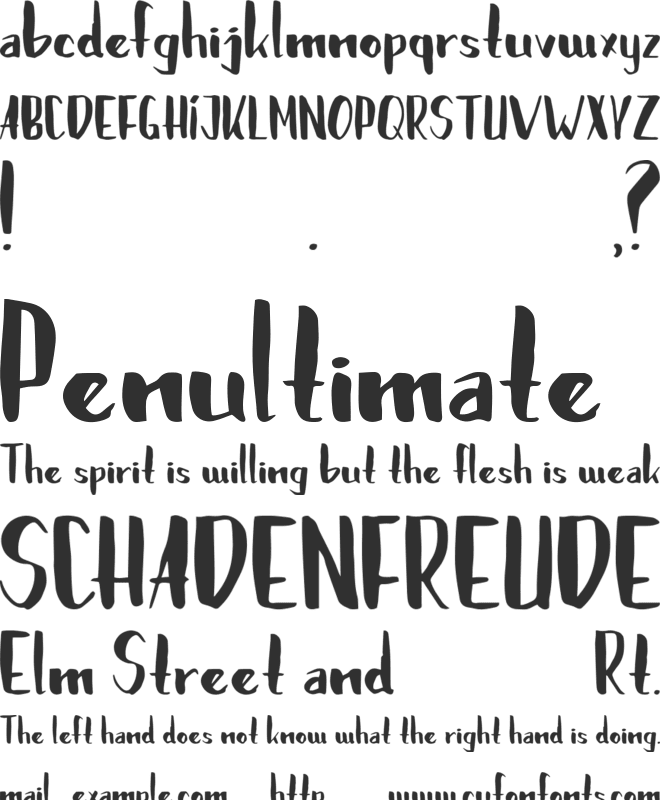 Brushylicious font preview