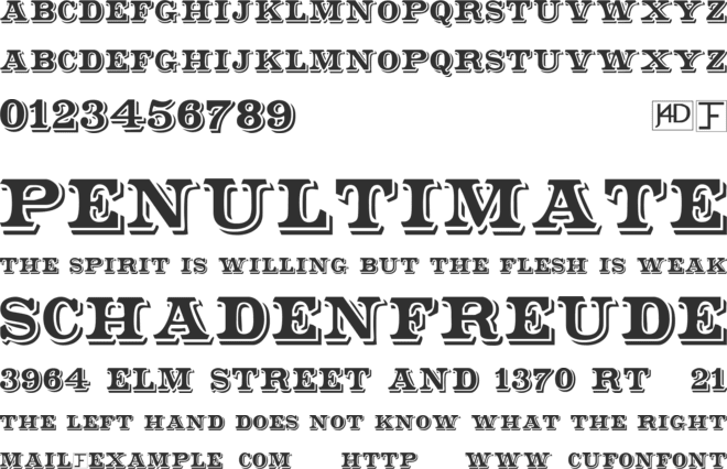 Shadowed Serif font preview