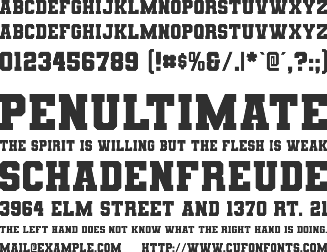 Varsity Team font preview