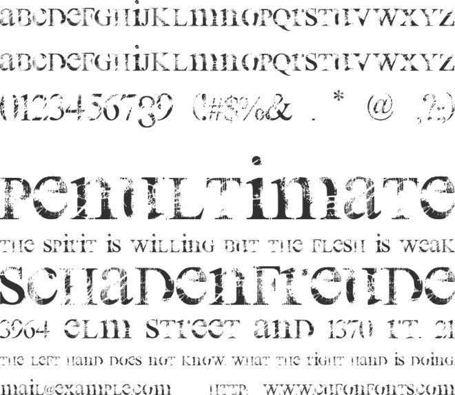All Used Up font preview