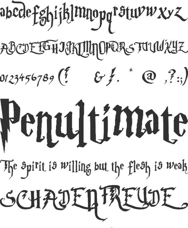 Parry Hotter font preview