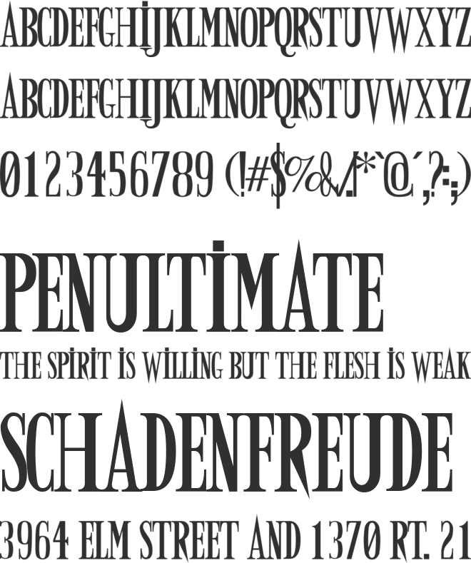 Army of Darkness font preview