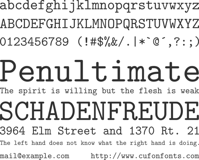 CMU Typewriter Text font preview