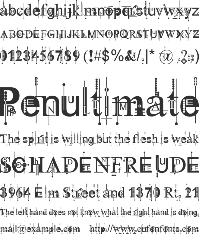 Kingthings Pique'n'meex font preview