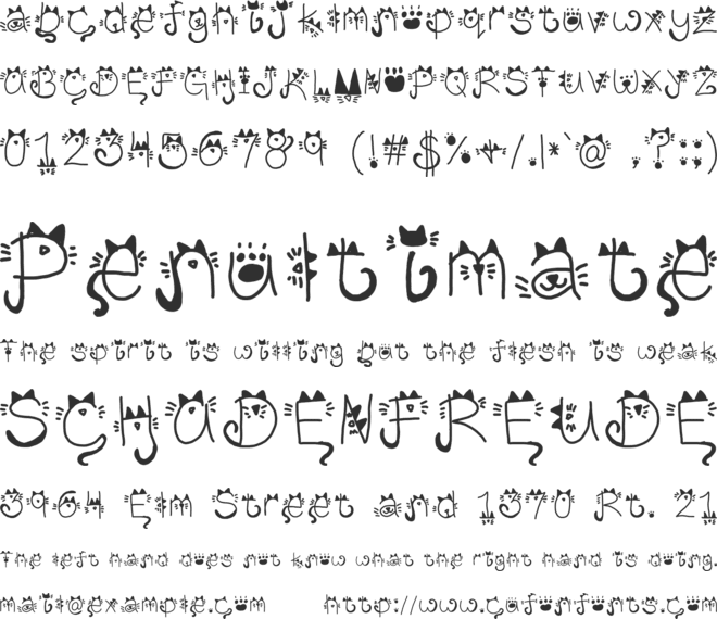 Kitty face font preview