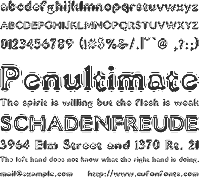 VTC Liquor Crystal Display font preview