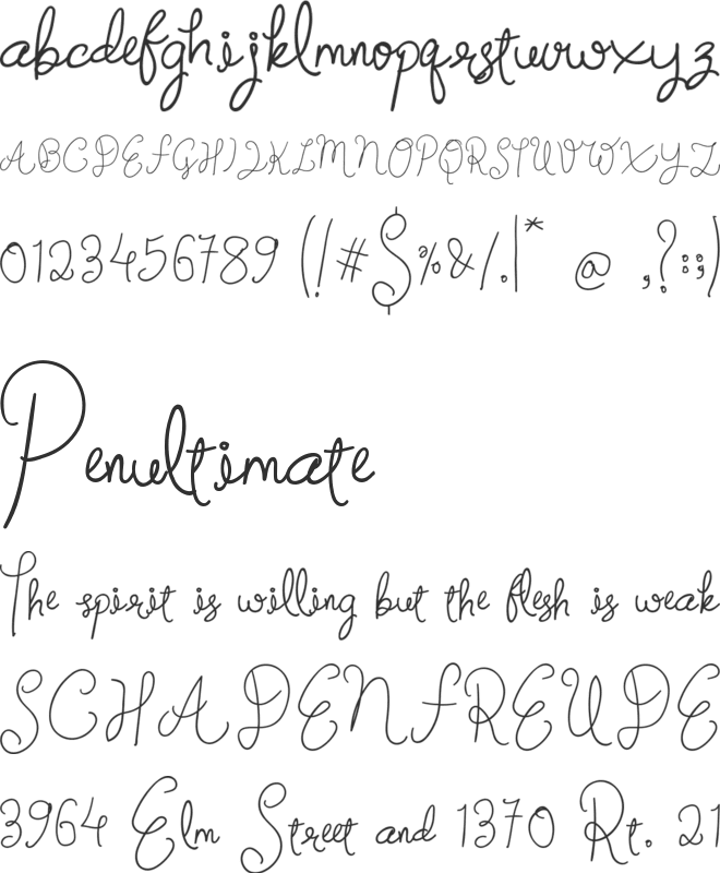 Signature Street font preview