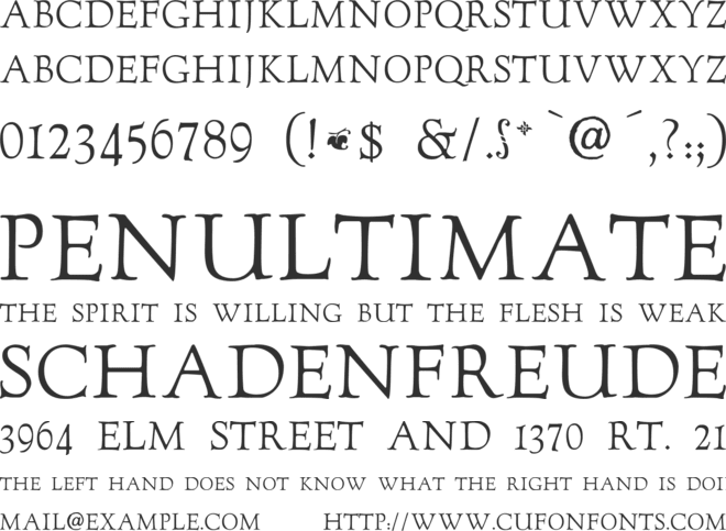 GoudyTwenty font preview
