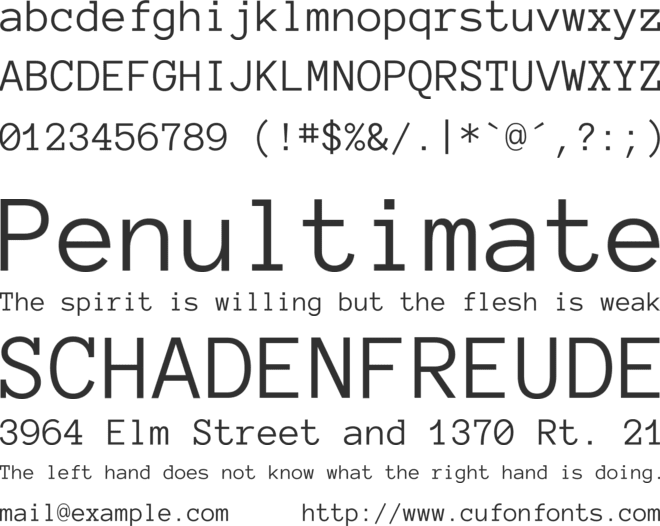 Anonymous Pro font preview