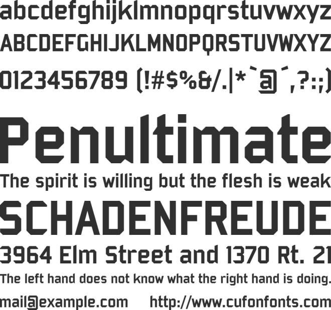Bombardier font preview