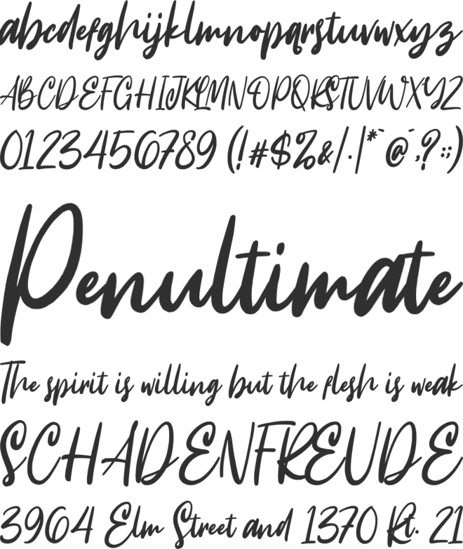 Intensity font preview