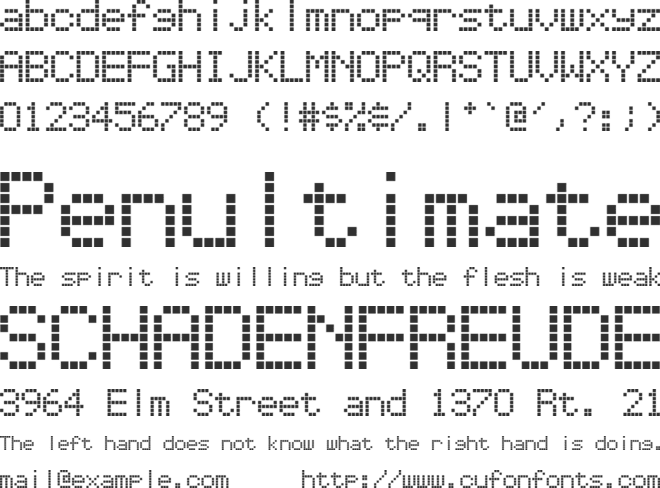 Repetition Scrolling font preview