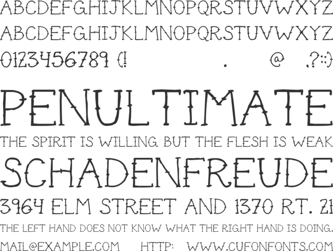 Cute Tattoo font preview