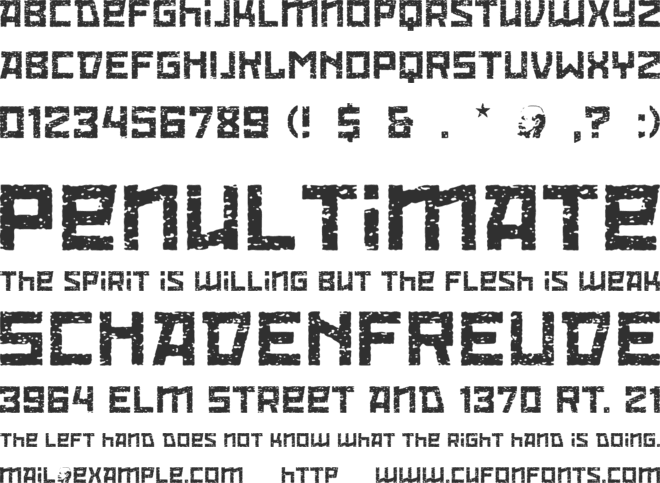 Red October Eroded font preview