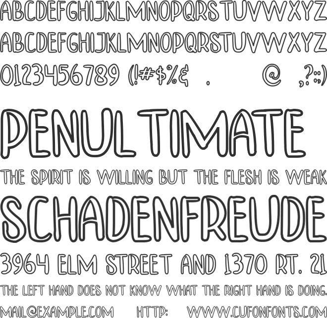 TINNY HURRY OUTLINE font preview