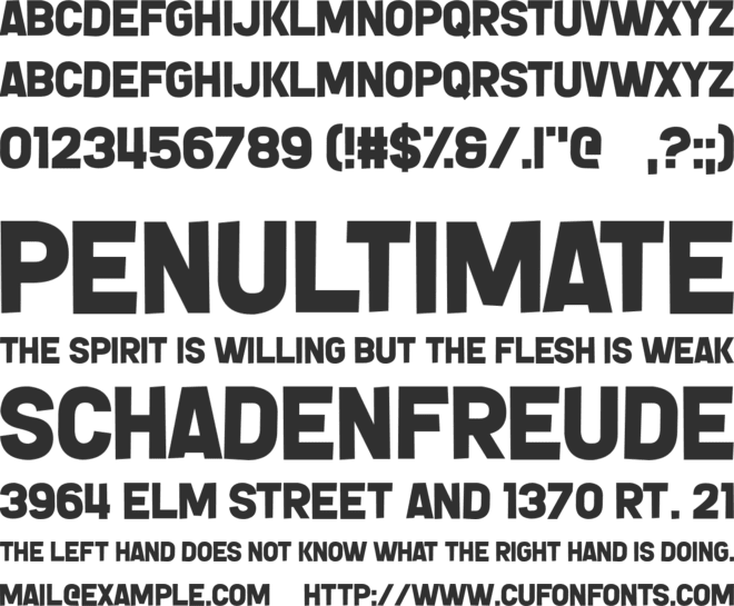 Gnorts, Mr A! font preview