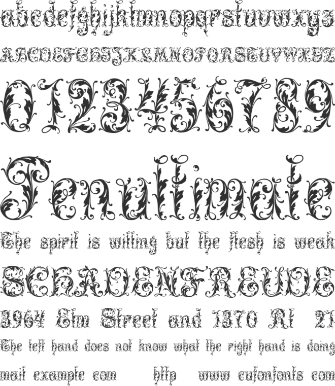 Leafy glade font preview