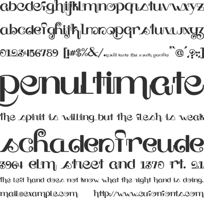 South Pacific font preview