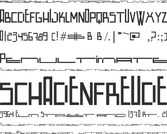 Wide Square font preview