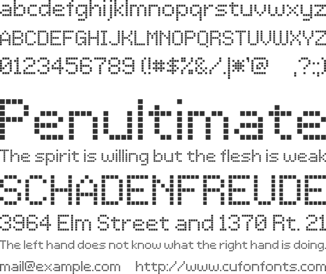 LCD Dot font preview