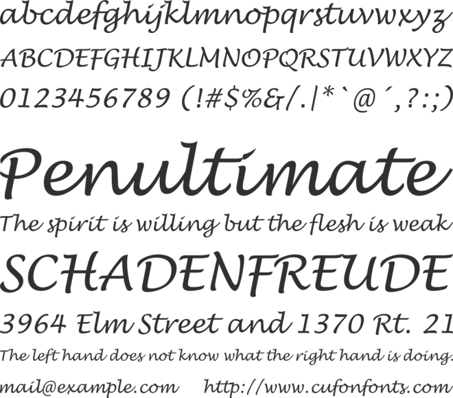 Lucida Handwriting New font preview