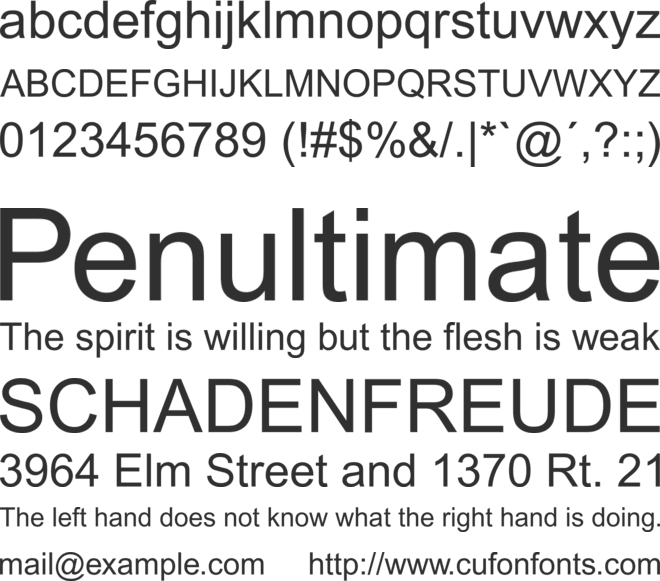 Monotype Arial font preview