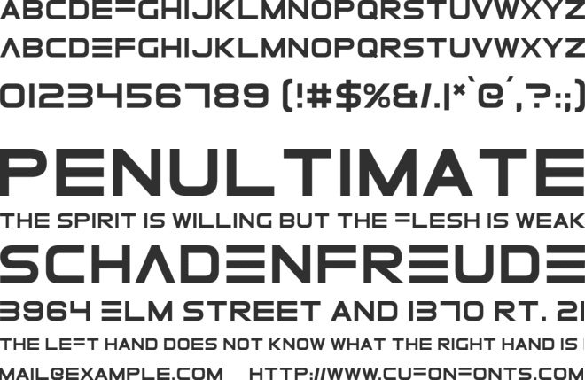 Elemental End font preview