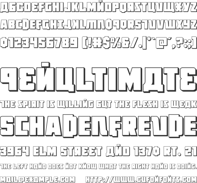 October Guard 3D font preview