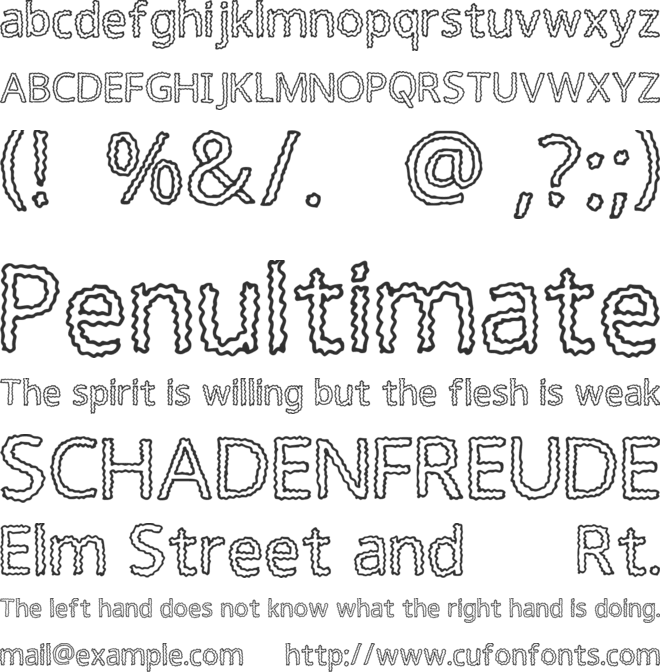 Squiggly font preview