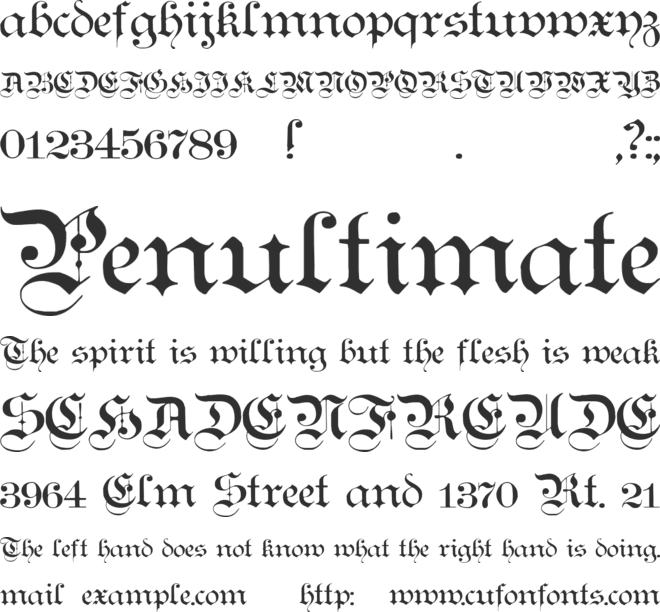 Teutonic No1 font preview