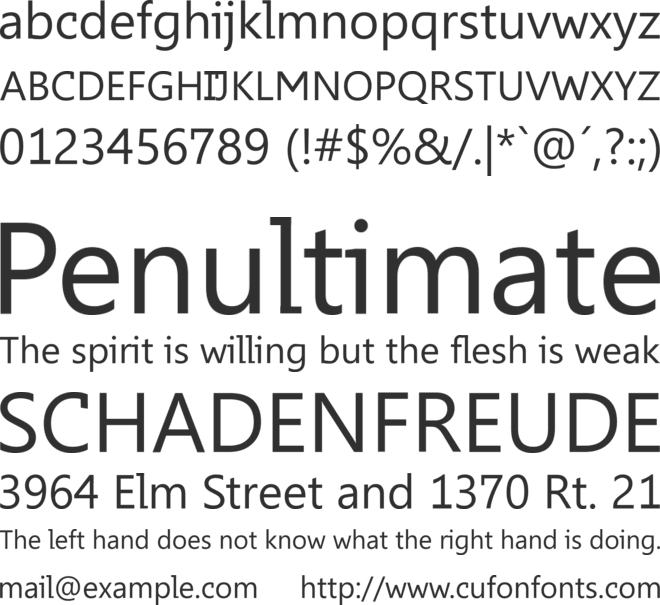Elementary font preview