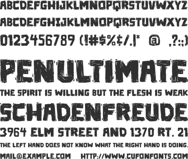 Die in a fire PG font preview