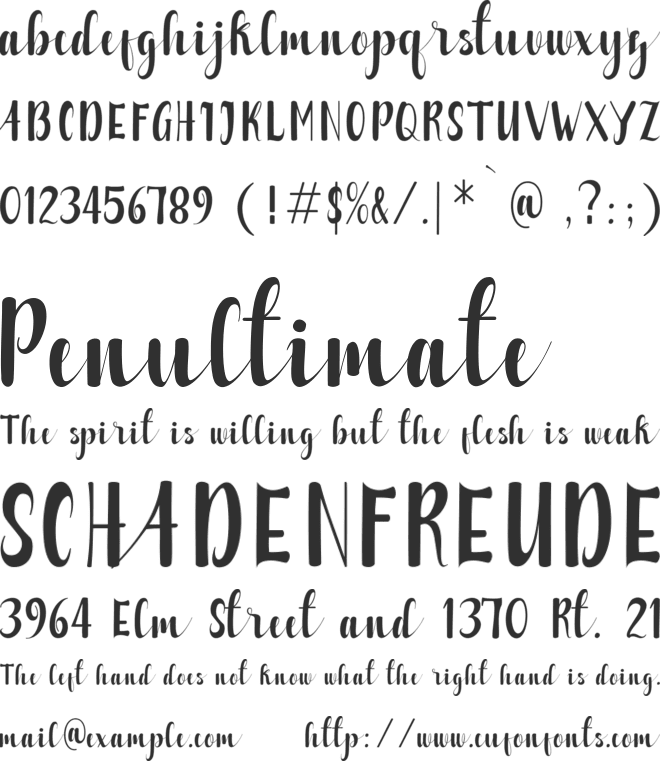 Alzelvin font preview
